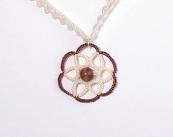 Brown and cream rose pendant necklace