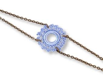 Adjustable bracelet, sky blue, bronze, Sun Belisaba pattern crochet lace