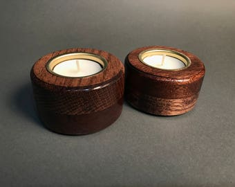 Solid Oak And Mahogany Wooden Candle holders