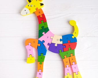 Wooden Alphabet and Numbers Letters Puzzle Learning Toy Giraffe Preschool Gift