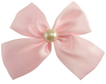 Clip hair woman or girl pale pink satin bow and Pearl cabochon