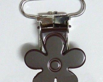 1 clip pacifier crocodile Brown 25mm flower clip