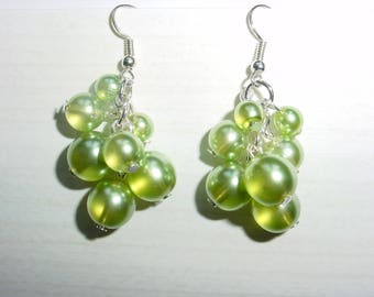 Earrings dangle cluster glass beads
