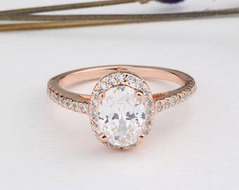 Rose Gold Oval Cut CZ Wedding Ring / Halo Engagement Anniversary Ring / Sterling Silver Ring