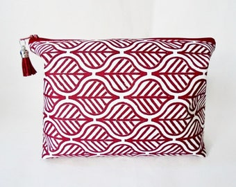 Gifts for her, Canvas Wash bag,Boho, Indian block print, boxy bag, cosmetic bag, zip bag, make up bag.