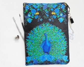 Gifts for her, Peacock and floral, sturdy wash bag, travel bag, cosmetic bag, zip bag, make up bag, cosmetic pouch.