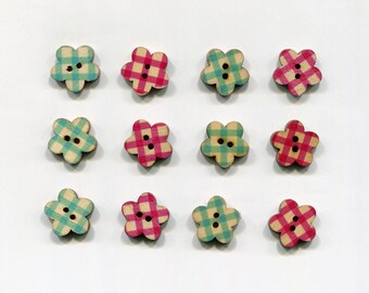 set of 12 flower wood buttons * checkered pattern * 17 mm