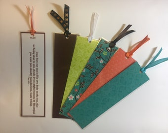 Bible Verse Bookmarks on colorful cardstock. 1 Peter 2:24 (Healing)