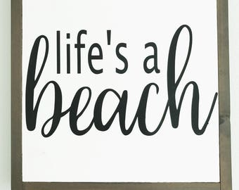 life's a beach wood sign | hand painted | beach house wall decor | framed wood sign | 13in x 13in