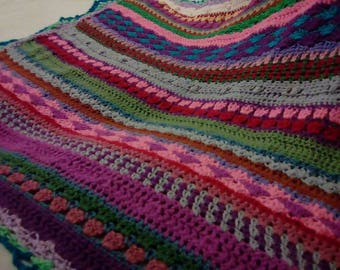 The most colourful & textured crochet throw ever.. crochet blanket, girls blanket, child's crochet blanket, children's blanket child's throw