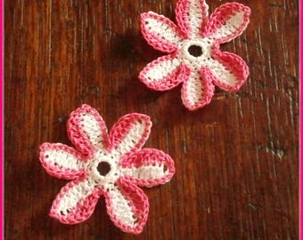Pink fuschia and white cotton crochet flowers
