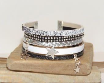 """Stars in black and white"" Cuff Bracelet leather, glitter leather, suede color black and white - gift idea"