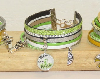"set of 3 ""mojito"" leather bracelets, leather, glitter, suede, color choice in the game of mojito bracelet"