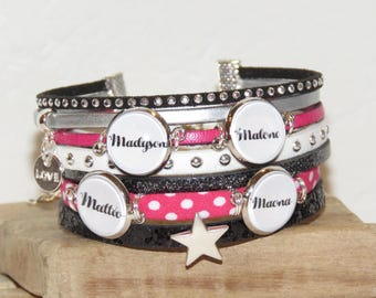 Cuff Bracelet personalized with 4 names of your choice, leather, black, white, pink and silver