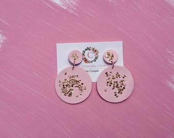 Gold chipped Circle Drops- Pink