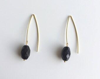 Golden earrings, black faceted bead