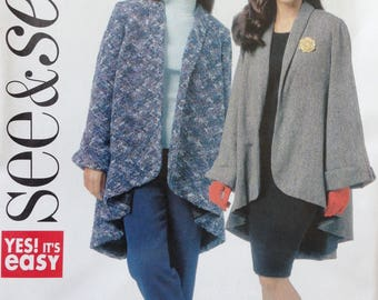 Butterick See & Sew Pattern B5703, Misses Jacket/Cape, Size 8-24, OOP
