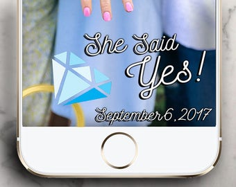 Proposal Snapchat Filter She Said Yes !  Snapchat Geofilter for Engagement Party!