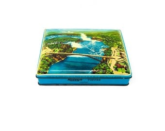 Riley's Toffee Tin - Tin Box - Niagara Falls - Rainbow Bridge - Halifax England - Riley Brothers - Candy Tin - Vintage Tin - Home Decor