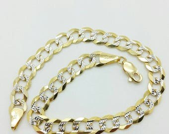 "14k Solid Yellow Gold Diamond Cut Pave Cuban Curb Link Chain Bracelet 8.5"" 7mm"