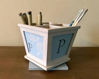 Shabby Chic Handprinted Wooden Desk Pen Organizer