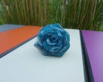 Blue rose ring, adjustable rings