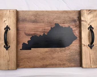 Wood Serving Tray, Custom Wood Tray, Personalized Serving Tray, Rustic Serving Tray, Wedding Gift, Kentucky tray