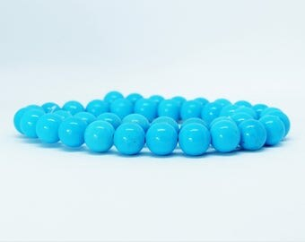 Turquoise Sinkiang Beads (blue) - 6/8/10mm - 10 or 100 Beads