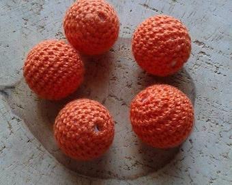 Orange set 5 crochet beads 20mm