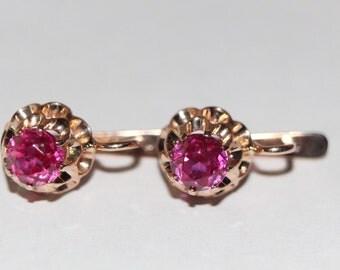 Vintage 14K 585 ROSE GOLD Russian Soviet USSR earrings