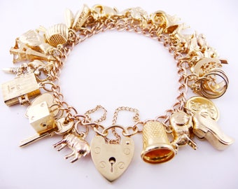 "Vintage (39.23g) 9ct Gold Charm Bracelet with 37 Charms (6.75"") 9k 375"