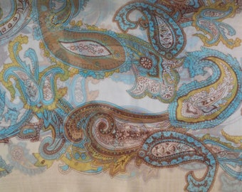 Paisley Scarves Boho Beige Brown Blue Scarf Bohemian Paisley Christmas Gift Silk Bandana Wrap Shawl Women Silk Scarf Hijab Polyester Scarf