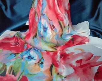 Scarf Watercolor Floral Style Aquarelle Flowers Scarves Vintage Red Flowers Shawl Chiffon Georgette Polyester Silk Scarf Abstract Watercolor