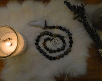 Handmade Beaded Witch's Ladder, Pagan Earth Prayer Beads with Deer Antler