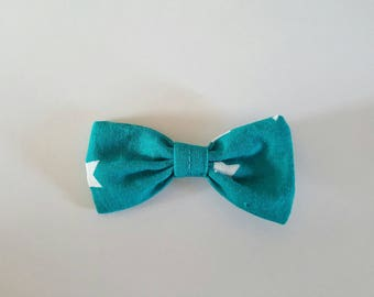 Turquoise blue bow Barrette and white stars