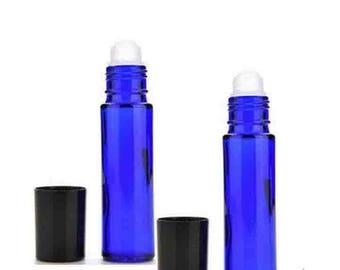 12 Cobalt Glass Roll On Bottles - 10 ML
