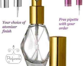 Set of 3: 1 oz / 2 oz. Diamond Shape LUXURY Atomizer Refillable Perfume Cologne Essential Oil SPRAY BOTTLE Empty