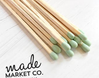 Mint Green Colored Tip Matches. Match Sticks Refill Bulk Unbottled 50 Count Farmhouse Home Decor Gifts for Her Most Popular Item Best Seller