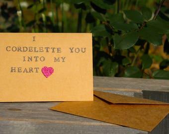Valentine / Love Card - Rock Climbing - I Cordlette You