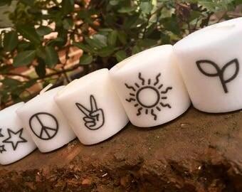 Peace Themed Votive Candles, Set of 5, Tumblr, Peace, Hippie, Sun, Stars, Gift