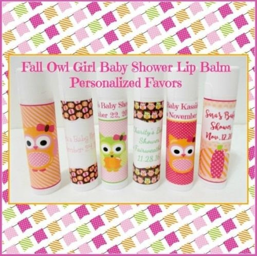 Fall Owl Themed Baby Shower Favors Fall Baby Shower Lip Balm
