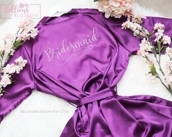 Bridal Robes, Bridesmaid Robes, Satin Kimono Robes, Customized Robes, Wedding Party Robes, Satin Robes, Glitter Satin Robe, Personalize Robe