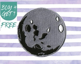 Moon Patch Space Patches Iron On Patch Embroidered Patch Full Moon Lunar