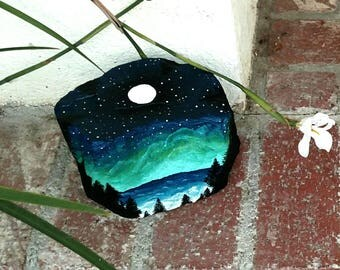 NEW!! Hand Painted Rock/lake after sunset/full moon/night sky/starry night/stars/one of a kind/garden decoration/acrylic/ blue/ turquoise