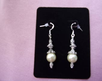 10 mm pearl and pewter earrings
