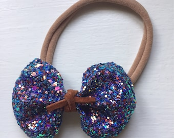 Nylon Headbands, Baby Headbands, Baby Bow and Headbands - Blue Glitter Bow with Suede lace