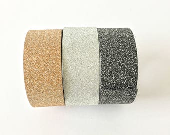 Sparkling Roll Glitter Washi Tape // Decoration Bling Multicolor Sparkle Black Silver Copper Adhesive DIY Masking Bullet Journal Christmas