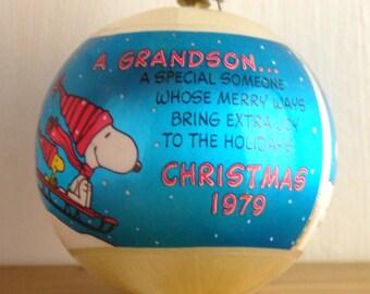 "Vintage Christmas Ornament 1979 Snoopy Charles Schultz ""A Grandson"""