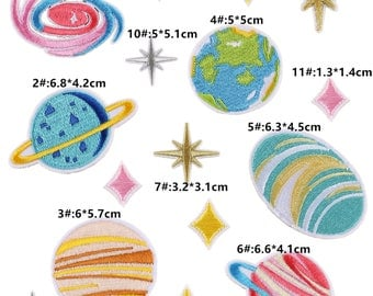 Set of 16 pcs,earth Patches,space patch, iron on patch set,Planets patch,Stars Patch, Sew On Patch, Embroidered Patch