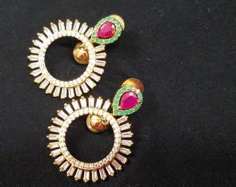 Beautiful cubic Zirconia and ruby emerald earrings